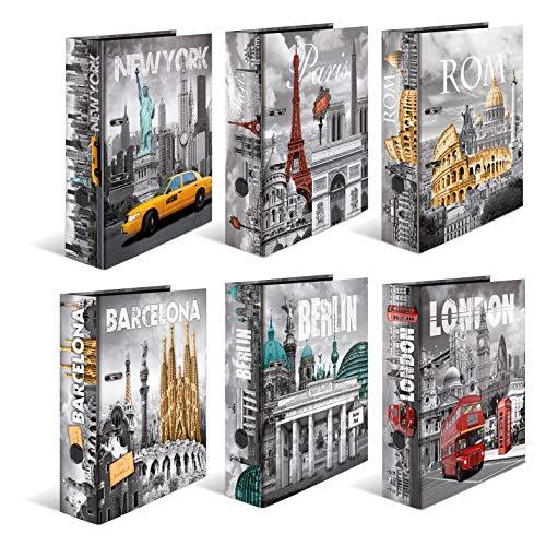 HERMA Registratore a leva con anelli Trend Cities, A4, dorso 7 cm, cartonato, colori assortiti, confezione da 10