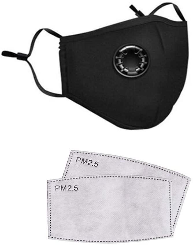 WEIHUIMEI Maschera Antipolvere, con 2 filtri Respiratore Maschera per la Bocca Maschere per Il Viso Anti-inquinamento per Equitazione Filtri Antipolvere in Carbone di Cotone per Uomo Donna