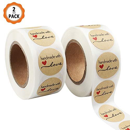 Ledoo Etichetta per Adesivi a Mano, 2 Rotoli Etichetta Adesiva Fatta a Mano con Amore per confezionare Regali Fai-da-Te, Fatto a Mano Adesivo Stampato Handmade with Love
