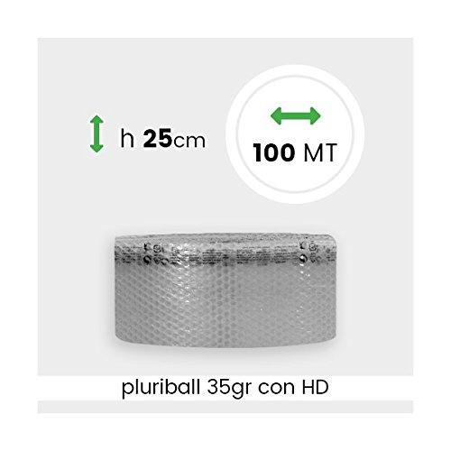 ROTOLO PLURIBALL ECONOMICO ALTEZZA 25 CM 100 MTL IMBALLAGGIPER PLUO11A PROTEZIONE IMBOTTITURA BOLLE ARIA TRASLOCO IMBALLAGGIO