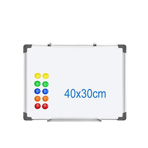 S SIENOC Lavagna Magnetica Bianca, Con Cornice In Alluminio, Superficie in tinplate e retro in zinco con 12 magneti,40x30cm ¡