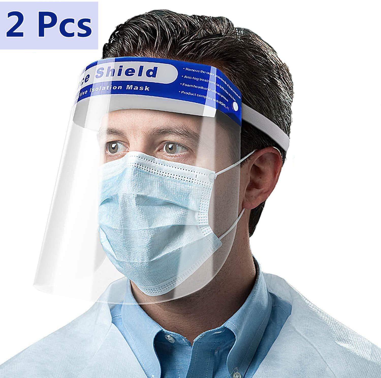 Godmorn 2Pcs Visiera Protettiva di Sicurezza,Visiera Trasparente, Coperchio Antinebbia Proteggi Gli Occhi e Il Viso per Cucina da Laboratorio all'aperto