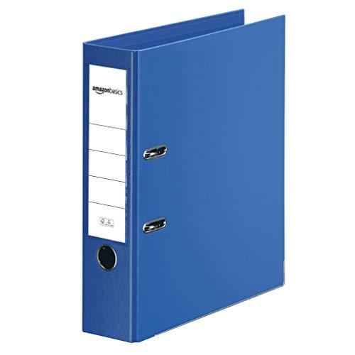 AmazonBasics - Registratore a leva con anelli D, copertina in polipropilene, inserto personalizzabile sul dorso, certificazione FSC, A4, dorso di larghezza 80 mm, blu