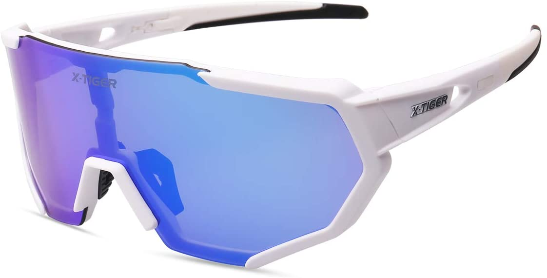 X-TIGER Occhiali Ciclismo CE Autentica Polarizzati con 3 Lenti Intercambiabili Occhiali Bici Antivento e Antiappannamento Occhiali Sportivi da Sole Anti UV da Uomo Donna per Corsa, MTB e Running