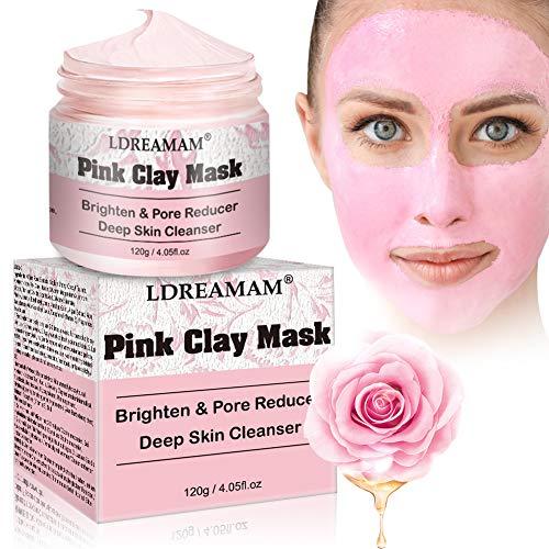 Maschera Argilla purificante rosa, Maschera viso all'argilla rosa,per pelli grasse o miste,per una cura nutriente e sbiancante della pelle antirughe, affina i pori 120g