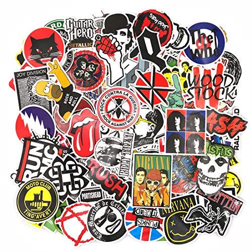 110 Pezzi - (Rock Band) Adesivi Valigia, Retro Vintage Stickers per Valigia, Chitarra, PC Portatili, Auto Moto, Bicicletta, Skateboard, Snowboard