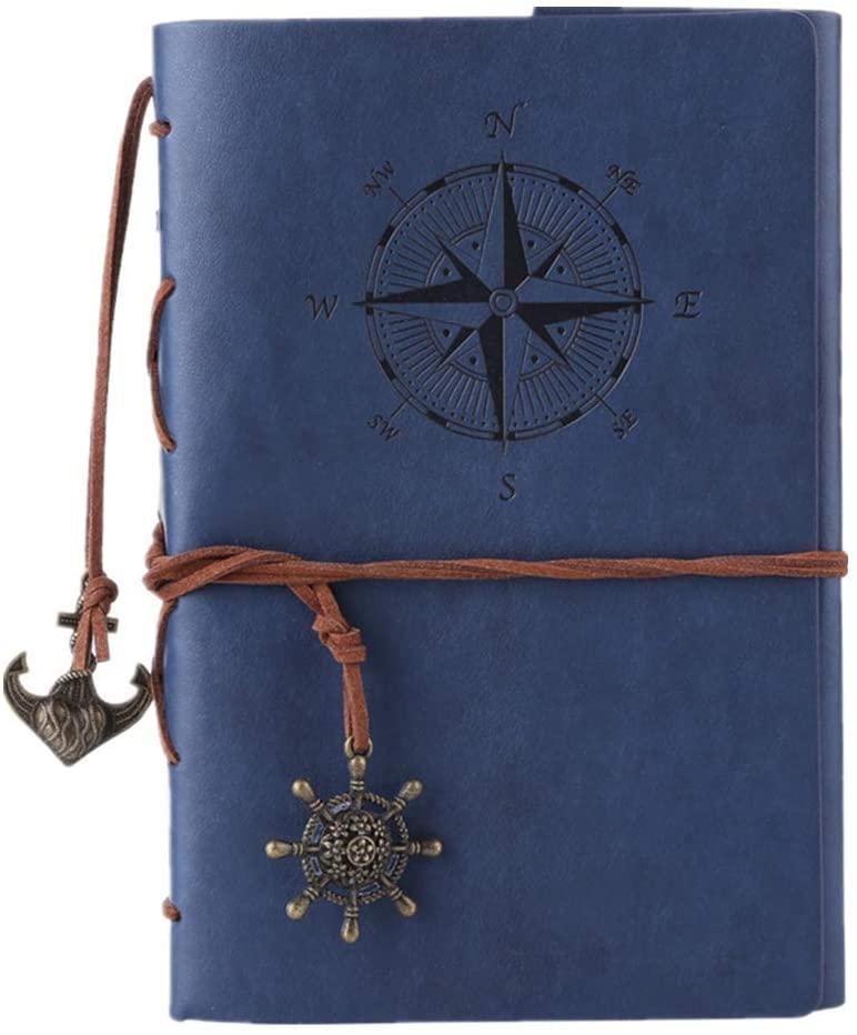 Maleden, diario di viaggio in pelle ad anelli, motivo bussola e ciondolo sul retro Sea Blue
