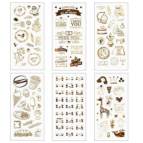 Matogle 6 Fogli Adesivo Scrapbooking Album Foto Diario Adesivi Dorati Vintage Adesivi Decorativi Album Foto Proiettili Cartoleria Scrapbooking Calendario Motivi Piante Animali Decorazione Fai da Te