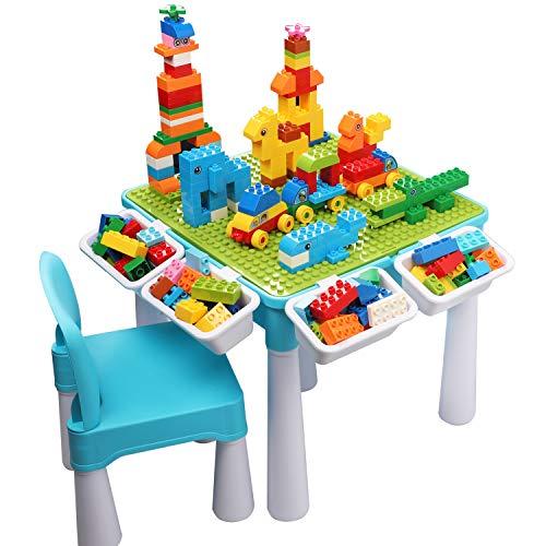 burgkidz Tavolo Multi-attività per Bambini 5 in 1 - 128 Pezzi di Grandi Blocchi di Costruzione Giocattoli da Compatibili, Tavolo da Gioco Sabbia e Acqua con Sedia e Contenitore, Blu