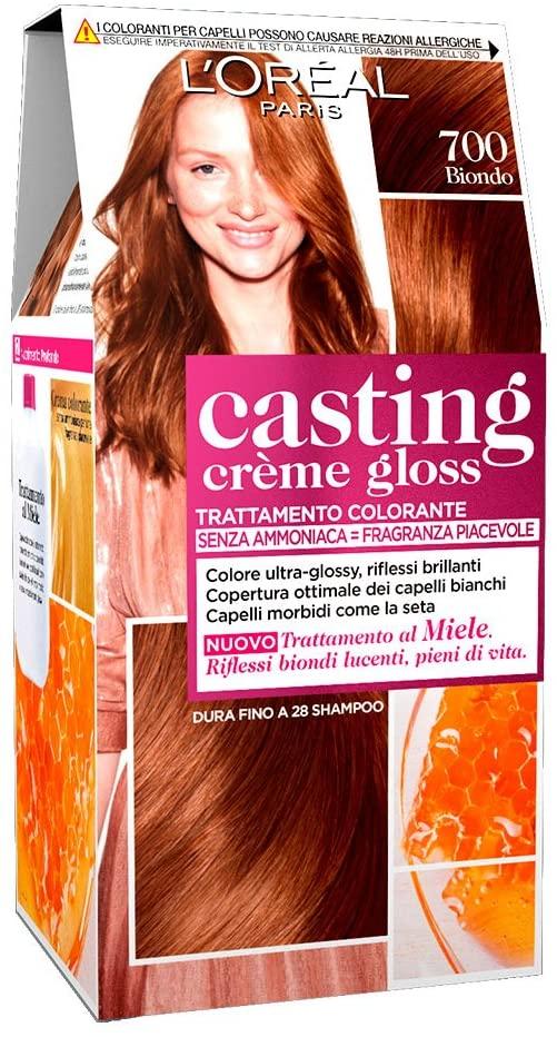 L'Oréal Paris Tinta Capelli Casting Creme Gloss, senza Ammoniaca per una Fragranza Piacevole, 700 Biondo, Confezione da 1