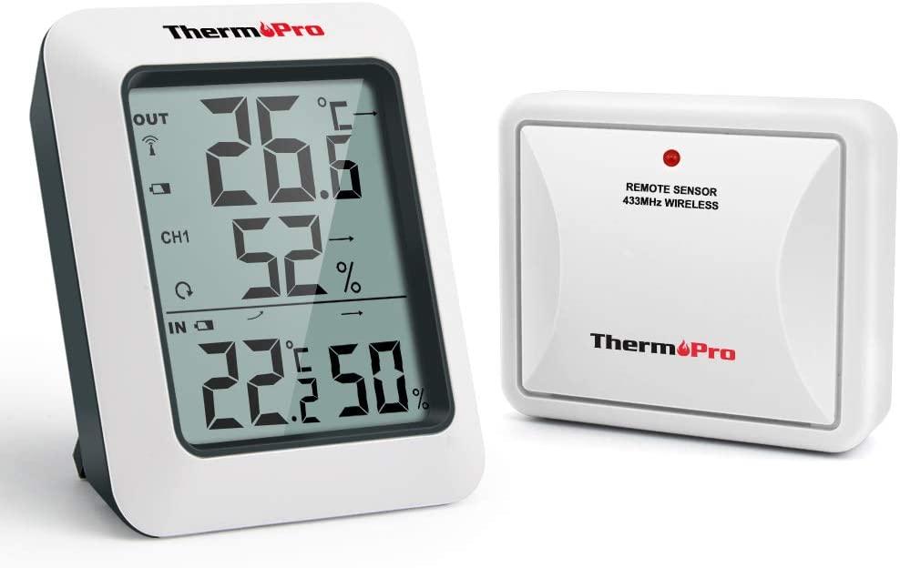 ThermoPro TP60S Termometro Igrometro da Interno Esterno Misuratore di Temperatura e umidità Wireless Termoigrometro Digitale con Sensore Esterno per Misura di Casa Ambiente