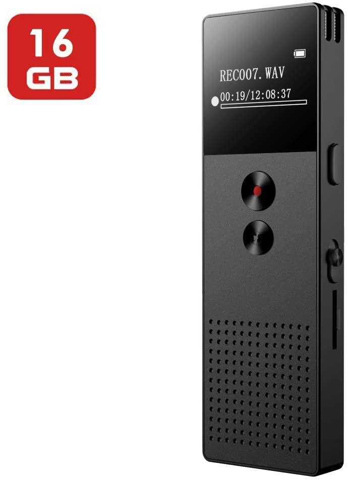 16GB Registratore vocale digitale professionale,registratore vocale multifunzione con FM e MP3,supporta la registrazione e il salvataggio con un clic,altoparlante incorporato,ricaricabile tramite USB.