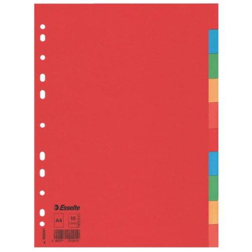 Esselte Divisori per Raccoglitori con 10 Tasti, Formato A4, Rosso/Multicolore, Cartoncino Robusto Riciclato, 100201