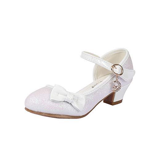 Scarpe con Paillettes da Ragazza Scarpe con Tacco Alto da Principessa Décolleté per Bambini(29 EU/Dimensione dell'Etichetta 30 Bianco)