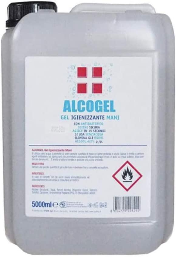 GEL Igienizzante alla 62% di Etanolo Battericida senza risciacquo professionale, liquido con antibatterico, disinfettante elimina germi e batteri (5 LITRI)