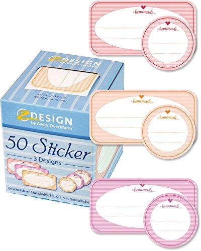 Avery Italia 56820-A Stickers Adesivi in Rotolo Predisegnati per Etichettare Barattoli, 50 Pezzi