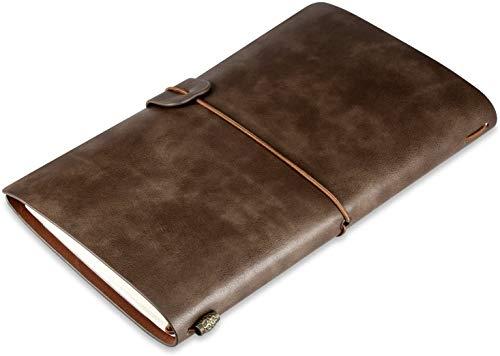 Diario di Viaggio in Pelle, Diario di Viaggio Taccuino in Pelle Sostituibile & Quaderno Vintage, Travel Journal Notebook, 4.72 X 7.87 lnch (Marrone)