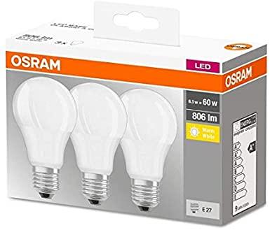 Osram LED Base Classic A Lampadina E27, 8.5W, 60 W, Luce Bianco Caldo, Confezione con 3 pezzi