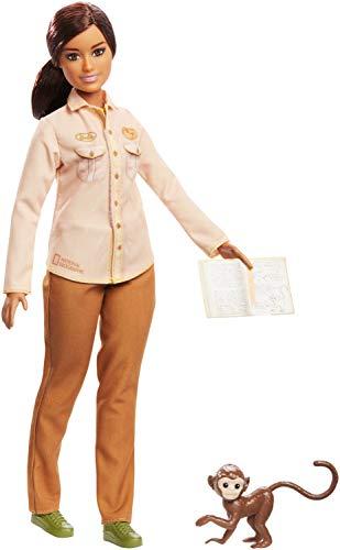 Barbie- Carriere Conservatrice di Biodiversità Bambola Bionda con Scimmietta e Accessori, Ispirata a National Geographic, Giocattolo per Bambini 3 + Anni, GDM48