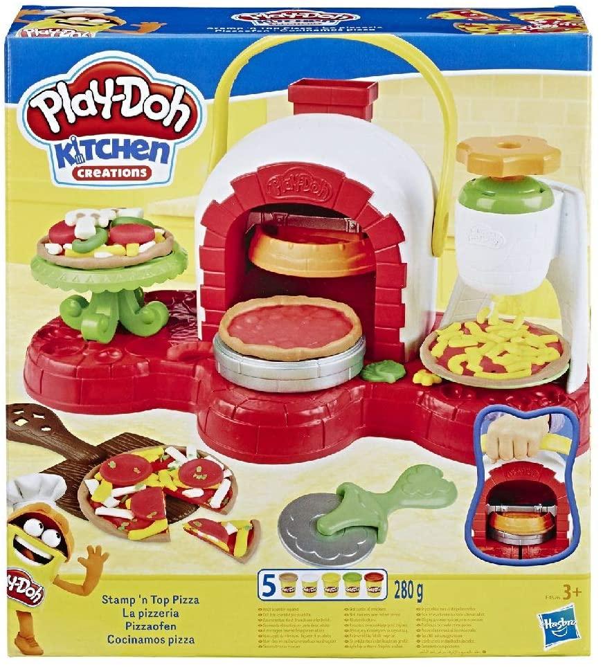Play-Doh Pizzeria (playset con 5 vasetti di pasta da modellare), Multicolore, E4576EU4