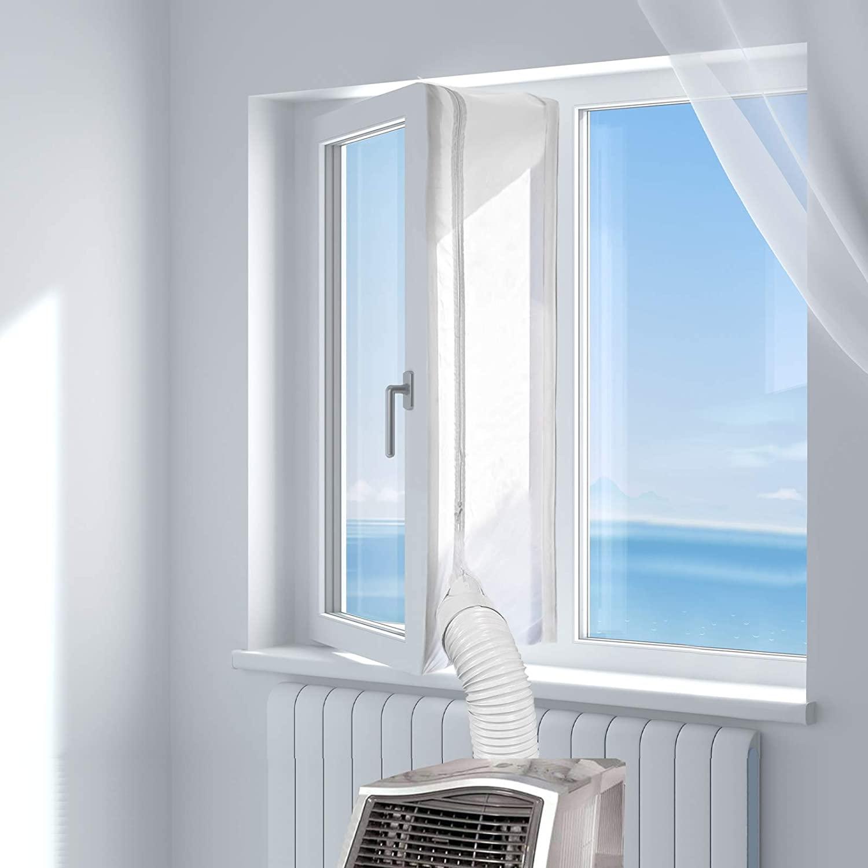 HOOMEE 300CM Guarnizione Universale per Finestre per Condizionatore Portatile, Asciugatrice – per Tutti Climatizzatori Mobili, Facile da Montare – con Zip, Chiusura a Strappo