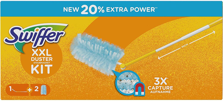 Swiffer Duster XXL Kit con 1 Manico e 2 Ricambi, Cattura e Intrappola fino A 3 Volte Più Polvere e Peli Rispetto a un Piumino Tradizionale