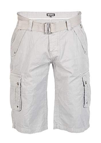 riverso - Pantaloncini Cargo da Uomo RIVAnton, con Cintura, 100% Cotone, Blu, Grigio, Verde Oliva, Nero, Beige, a Quadretti w30 - w46 Grigio Dawn (23200). 44W