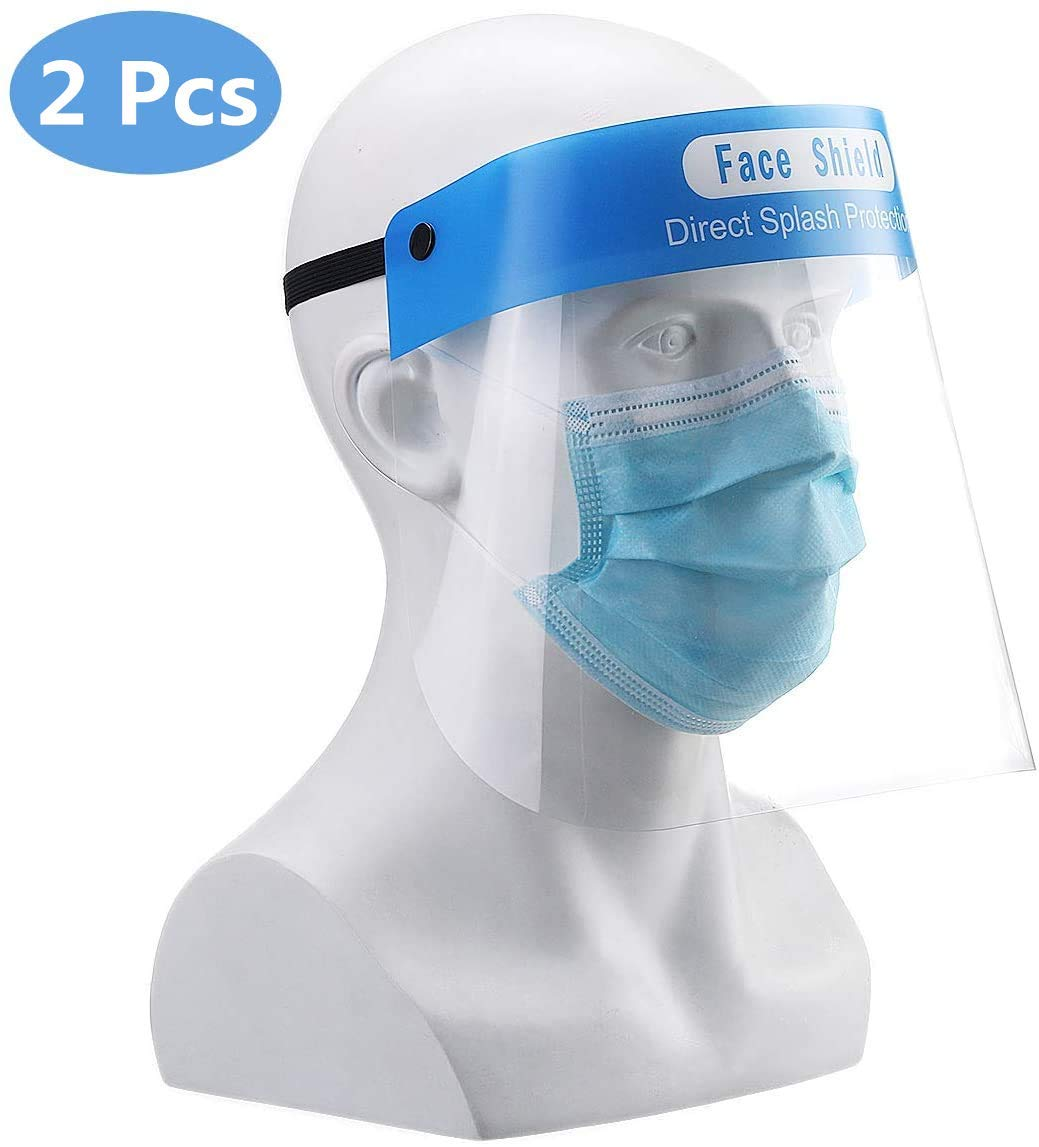 Godmorn 2Pcs Visiera Protettiva di Sicurezza,Visiera Trasparente, Coperchio Antinebbia Proteggi Gli Occhi e Il Viso per Cucina da Laboratorio all'aperto (2)