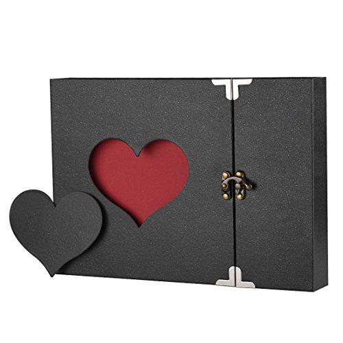 Firbon Album Fotografico, Scrapbook, Sticker Diario Creativo con Incisione a Forma di Cuore.Wedding Anniversary, Birthday, Mother's Day, Valentine's Day Idea Regalo(Nero)