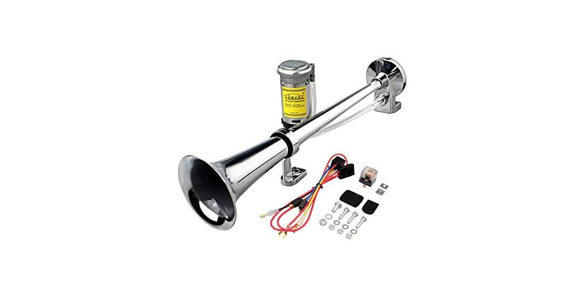 GAMPRO 12V 150dB Air Horn, 45cm Chrome Zinc Single Trumpet